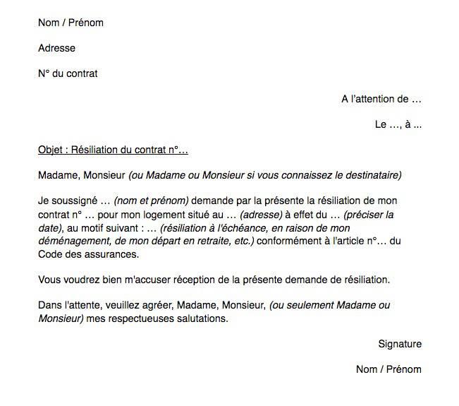 Modèle lettre de résiliation pour contrat d'assurance habitation